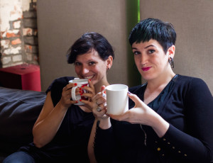 The ladies drink some tea to keep those angelic voices singing some beautiful tunes!